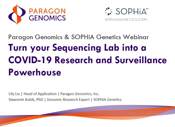 Paragon Genomics and Sophia Genetics COVID-19 On-demand Webinar