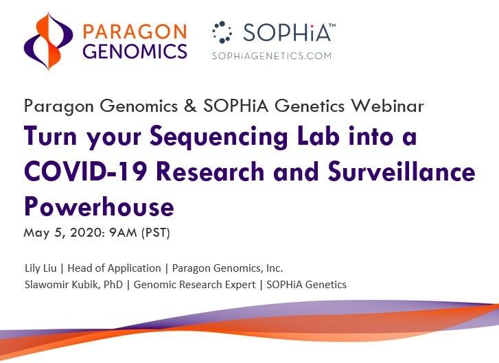 Paragon Genomics and Sophia Genetics COVID-19 webinar